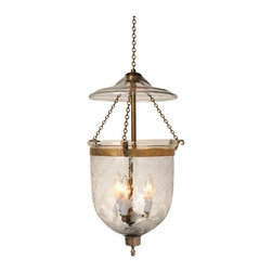 """Tulip Etching Hundi Glass Bell Jar Lantern 7""""D, Nickel Silver - Tulip Design Hundi Glass Bell Jar Lantern 7"""" Diameter, Approximate 19"""" Height (Jar Height 11"""") with 3 lights. Comes in 3 Finishes- Antique Brass, Antique Bronze, Nickel Silver. Each bell jar comes with glass lid, electrification kit and 3 feet of chain and corresponding canopy."""