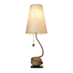 HANDMADE ROCK AND VINE LAMP - This very cool lamp is inspired by the Sonoma valley with its wine vine wrapped around a stone. I love the creativity and the natural yet modern feeling this ensemble relays.