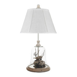 None - Birds in Glass Cloche Table Lamp - Enjoy a taste of Europe with this glass table lamp that features two birds encased in a bell jar that evokes images of an English garden. This 22-inch high lamp has a rustic elegance that makes it a great gift for someone who appreciates the outdoors.