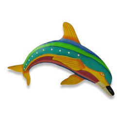Brightly Colored Hand Painted Metal Dolphin Wall Hanging - This wonderful metal wall hanging features a brightly painted yellow, blue, green and red striped dolphin. He measures 11 inches tall, 18 1/2 inches long and about an inch thick. He`ll add a splash of color to any room, and makes a great gift for dolphin fans. NOTE: These are hand-painted, one at a time, and there may be slight differences in color and stripe pattern from the one pictured.