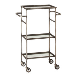 Arteriors - Leon Bar Cart - Function meets form with this iron bar cart with a natural finish featuring three tiers of glass tabletops with antiqued mirror finish. Cart features 2 large handles and is mobile with four casters.