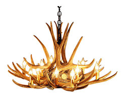 Muskoka Lifestyle Products - Rustic Mule Deer Antler Chandelier - 9 Antlers 12 Lights - Rustic Mule Deer Antler 9 Chandelier with 12 Lights