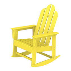 "Polywood POLYWOOD® Long Island Rocker in Lemon - The sun, the beach and a really good book Bring the easy comfort of a day at the beach to your outdoor living area with the stylish and eco-friendly Long Island Rocker inspired by the classic Northeast Adirondack with a twist of modern design. You don't need a house in the Hamptons to create your own breezy get away with these classically styled pieces constructed from HDPE material – an incredibly durable material made from post-consumer bottle waste, such as milk and detergent bottles. Solidly constructed with stainless steel hardware, these pieces will stand the test of time and can withstand the elements with very little maintenance.  The Long Island Rocker will not absorb moisture and requires no waterproofing, painting or staining to maintain their bright color for years. The colors are blended into the material all the way through, and are UV-resistant. Minimal assembly is required.  Available colors: Sunset Red, Tangerine, Lemon, Lime, Aruba, Pacific Blue, Teak, White, and Black.  Dimensions: Long Island Rocker – 41""H x 26.5""W x 30""D, Seat height – 16.25"", Seat size – 20"" x 17""   Care: Wash with mild soap and water. They can be power washed at pressures below 1,500 PSI.Please allow 2-3 weeks to ship."
