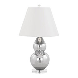 Mercury Double-Gourd Table Lamp - This mercury glass and Lucite double-gourd lamp by Robert Abbey will reflect the beautiful ocean-inspired hues around it. Use it near a window or colorful accents.