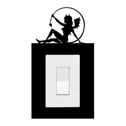 StickONmania - Lightswitch Cartoon Devil Girl #2 Sticker - A vinyl sticker decal to decorate a lightswitch.  Decorate your home with original vinyl decals made to order in our shop located in the USA. We only use the best equipment and materials to guarantee the everlasting quality of each vinyl sticker. Our original wall art design stickers are easy to apply on most flat surfaces, including slightly textured walls, windows, mirrors, or any smooth surface. Some wall decals may come in multiple pieces due to the size of the design, different sizes of most of our vinyl stickers are available, please message us for a quote. Interior wall decor stickers come with a MATTE finish that is easier to remove from painted surfaces but Exterior stickers for cars,  bathrooms and refrigerators come with a stickier GLOSSY finish that can also be used for exterior purposes. We DO NOT recommend using glossy finish stickers on walls. All of our Vinyl wall decals are removable but not re-positionable, simply peel and stick, no glue or chemicals needed. Our decals always come with instructions and if you order from Houzz we will always add a small thank you gift.