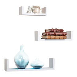 "Danya B. - Floating 'U' Laminated Veneer Shelves (Set of 3), White - This set of 3 Nesting ""U"" Shelves makes space utilization efficient & is perfect for displaying your favorite books, collectibles, photos, toys, awards, CD's, videos, decorative items and more. They can be hung with the vertical sides either up or down, according to the effect you want to create. With the vertical sides up, it is like having a built in bookend. With its contemporary espresso, wood grain,�black�or classic white finish, they are the ideal accent for any living space. Easy to install with no visible connectors or hanging hardware. All hardware included.� Overall measures: Large: 17 x 4 x 4"".� Medium: 13 x 4 x 3.5"".� Small: 9 x 4 x 3""."