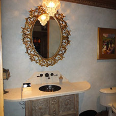 Mediterranean Powder Room by Macaluso Designs, Inc.