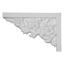 "Ekena Millwork - 11 3/4""W  x 7 7/8""H x  3/4""P Floral Large Stair Bracket, Right - With the beauty of original and historical styles, decorative stair brackets add the finishing touch to stair systems.  Manufactured from a high density urethane foam, they hold the same type of density and detail as traditional plaster stair bracket products.  They come factory primed and can be easily installed using standard finishing nails and/or polyurethane construction adhesive."