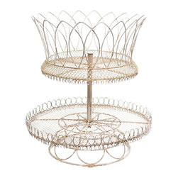 Aidan Gray - Aidan Gray White French Lace Basket Set of 2 G49 - This French lace table top basket in painted in an antique white finish for a more romantic look than the traditional rust. Two levels make for an eye catching display.