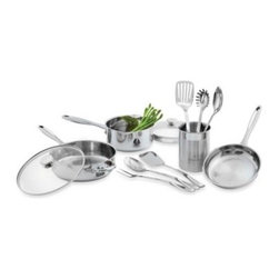 Wolfgang Puck - Wolfgang Puck Stainless Steel 12 Piece Cookware Set - Wolfgang Puck's stainless steel cookware is as functional as it is attractive. It is constructed of durable stainless steel gauge and has an encapsulated aluminum disc base to ensure even heating and cooking.