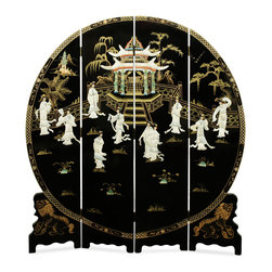 "China Furniture and Arts - 72in Black Lacquer Mother of Pearl Motif Floor Screen - Tapered on the edge to fit the circular shape, the symbol of eternity in Feng Shui, this four-panel floor screen is exquisitely hand-painted and decorated with mother of pearl to exhibit a panoramic view of a Chinese social scene in ancient time. Treasured for not only its artistic quality but also its contribution in Feng Shui, according to which a rectangular room should be balanced with a prominent round object such as this round floor screen. Imported directly from China. Gold bamboo trees are softly painted on the back. Each panel measures approximately 18""W."