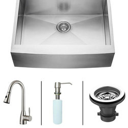 Vigo - VIGO Farmhouse Stainless Steel Kitchen Sink Faucet and Dispenser VG15006 - VIGO-Stainless Steel-Kitchen Sinks Kitchen Sets are fully undercoated and padded with multi layer sound eliminating technology which also prevents condensation.  All Vigo kitchen sinks guaranteed to never rust.  Faucet features spray face that resists mineral buildup and is easy-to-clean. Vigo finishes resist corrosion and tarnishing, exceeding industry durability standards .  Drip-free ceramic disc cartridge.