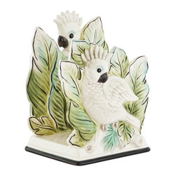 Fitz and Floyd - Fitz and Floyd 29-511 Cockatoo Napkin Holder - 29-511 - Shop for Napkin Holders and Rings from Hayneedle.com! You can count on the happy and helpful Fitz and Floyd 29-511 Cockatoo Napkin Holder to keep your napkins easily at hand. This charming bird and tropical pattern make your table feel like a fun getaway. Durable earthenware construction ensures lasting beauty. Part of the Cockatoo collection.About Fitz and FloydFitz and Floyd is recognized worldwide as a leader amongst the style- and quality-conscious. For 50 years their unique designs have made them the leader in the purveyor of hand-painted ceramic dinnerware tableware accessories giftware and collectibles. All Fitz and Floyd pieces are easy to spot. Each piece is distinctively hand-crafted by artisans from the drawing board to the sculpting wheel and kiln.The company's Dallas-based studios are renowned for producing over 500 unique designs per year. Creations range from presidential dinnerware for the White House or a tea service for Her Majesty Queen Elizabeth II to the perfect centerpiece for your table and each design is lovingly crafted in the highest quality. Meticulous craftsmanship and exquisite detail make every Fitz and Floyd piece a treasured heirloom-quality gift.