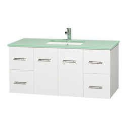 "Wyndham Collection - Centra 48"" Single Vanity in White, Countertop, Undermount Square Sink, No Mirror - Simplicity and elegance combine in the perfect lines of the Centra vanity by the Wyndham Collection. If cutting-edge contemporary design is your style then the Centra vanity is for you - modern, chic and built to last a lifetime. Available with green glass, pure white man-made stone, ivory marble or white carrera marble counters, with stunning vessel or undermount sink(s) and matching mirror(s). Featuring soft close door hinges, drawer glides, and meticulously finished with brushed chrome hardware. The attention to detail on this beautiful vanity is second to none."