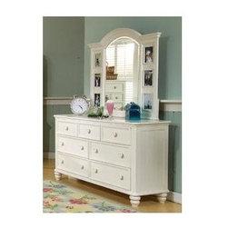 LC Kids - Summer Breeze - Traditional Wood Dresser w Landscape Vanity Mirror - Summer Breeze Collection. Includes 7 drawer dresser & landscape mirror. Select hardwood solids. Dresser: 18 in. L x 58 in. W x 34 in. H (135 lbs.). Mirror: 46 in. L x 2 in. W x 41 in. H (41 lbs.)