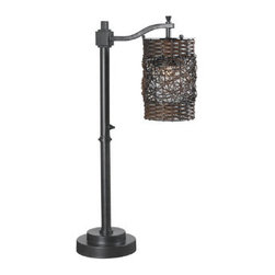 Grandin Road - Brent Outdoor Table Lamp - Oil-rubbed bronze finish. Woven resin drum shade. Suitable for indoor or outdoor use. On/off light pole switch. Requires one 100-watt bulb (not included). With its combination of an oil-rubbed bronze finish and a dual-weave shade, our Brent Outdoor Table Lamp is the perfect transitional piece for lighting up your outdoor living room. This durable and weatherproof light will add delightful texture and uniquely filtered light to your deck or porch.  .  .  .  .  . 10' cord . Some assembly required .