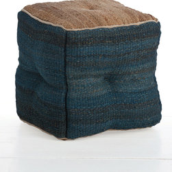Nadal Jute Ottoman - Variegated weave and thoughtfully-placed contrast contribute their dynamic yet natural look to the organic casualness implied by the Nadal Jute Ottoman.  Ideal for giving a refined counterculture edge to an upscale room or for downplaying hard corners for a more inviting seating area, this ottoman is made in a combination of natural coarse-weave cloth with an oceanic indigo on the tufted walls.
