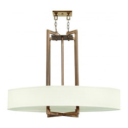 Hinkley - Hinkley Hampton 4-Light Brushed Bronze Drum Shade Pendant - 40 in. x 31 in. - This 4-Light Drum Shade Pendant is part of the Hampton Collection and has a Brushed Bronze Finish. It is Dry Rated.