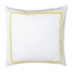 """Trina Turk - Palm Springs Block European Sham - WHITE/BLACK - Trina TurkPalm Springs Block European ShamDetailsWhite European shams with """"Palm Springs Block"""" embroidery are 400-thread-count cotton sateen. Select embroidery color when ordering.Machine wash.Imported.Designer About Trina Turk:California native Trina Turk (who learned to sew at age 11) designed for contemporary and sportswear lines before debuting her own label in 1995. Her collection is inspired by L.A.'s architecture and multicultural heritage along with the desert's poolside lifestyle which led to a swimwear line featuring fun prints and flattering shapes."""