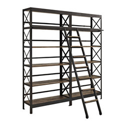 Headway Wood Stand Bookcase - Gain ground through the rising tide of process with the Headway industrial modern shelving unit and ladder. Constructed with solid pine wood shelves and a cast iron frame, Headway advances your decor from the onset of assembly lines into our present era of discovery. The ladder is sold together so as to connote progress both on and off the shelf.
