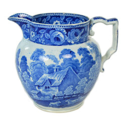 Lavish Shoestring - Consigned Blue and White Jug with Country Scenes, Antique English, 19th Century - This is a vintage one-of-a-kind item.