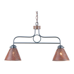 Franklin Punched-Tin Pendant Light, Rustic Tin - Here is an ideal way to introduce the warm glow of country charm to a kitchen island or den area above the bar. Designed with two handcrafted shades that diffuse light downward. Made in USA.