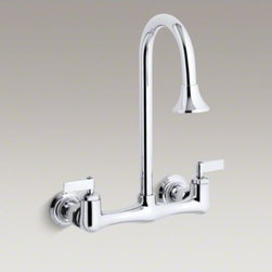 KOHLER - KOHLER Triton(R) double lever handle utility sink faucet with rosespray goosenec - Seamlessly combining functionality with style, the Triton utility sink faucet features sturdy solid brass construction, one-piece ceramic valves that resist debris and hard water buildup and ergonomic handle rotation that provides on/off water control wit