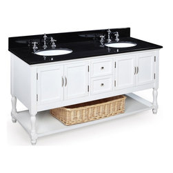 Kitchen Bath Collection - Beverly 60-in Double Sink Bath Vanity (Black/White) - This bathroom vanity set by Kitchen Bath Collection includes a white cabinet, soft close drawers, self-closing door hinges, black granite countertop, double undermount ceramic sinks, pop-up drains, and P-traps. Order now and we will include the pictured three-hole faucets and a matching backsplash as a free gift! All vanities come fully assembled by the manufacturer, with countertop & sink pre-installed.