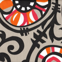 Close to Custom Linens - 50W x 72L Shower Stall Curtain Suzani Vine, Lined - Suzani Vine is a large scale abstract floral in grey with pink and orange accents. Reinforced button holes for 8 curtain rings.