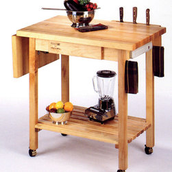 John Boos - Kitchen Culinary Cart w 12 in. Drop Leaf - Rolling casters make this cart easily mobile. It has a twelve-inch drop leaf to give extra room whenever needed. The top surface doubles as a hardy cutting board, and it features a wood knife holder to keep you cutlery nearby. Cut up fennel, basin, cilantro, and Italian parsley on your gorgeous Kitchen Culinary Cart w 12 in. The sturdy bottom shelf provides storage for you larger, bulky kitchen appliances. * Sturdy 1.5-in. thick end grain maple surface. 12 inch drop leaf. Wooden drawer for utensils. Electrical outlet strip. Wooden knife holder. Casters. 36 in. x 24 in. D x 48 in. W x 90 lbs.