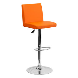 """Flash Furniture - Contemporary Orange Vinyl Adjustable Height Bar Stool with Chrome Base - This dual purpose stool easily adjusts from counter to bar height. The simple design allows it to seamlessly accent any area in the home. Not only is this stool stylish, but very comfortable to provide you with an amazing sitting experience! The easy to clean vinyl upholstery is an added bonus when stool is used regularly. The height adjustable swivel seat adjusts from counter to bar height with the handle located below the seat. The chrome footrest supports your feet while also providing a contemporary chic design. Counter Height or Bar Stool; Orange Vinyl Upholstery; Comfortable Seat with Mid-Back; Swivel Seat; Height Adjustable Seat with Gas Lift; Foot Rest; Chrome Base; Base Diameter: 17.625""""; CA117 Fire Retardant Foam; Designed for Residential Use; Overall dimensions: 15.5""""W x 18.5""""D x 35.25"""" - 43.75""""H"""