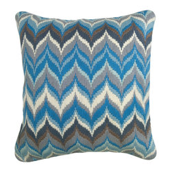 "Jonathan Adler - Jonathan Adler Flame Blue/Grey Bargello Pillow - Jonathan Adler marries artsy with urban in the Flame Bargello pillow. The throw pillow's hand-embroidered long stitches form an iconic flame pattern that adds a sense of modernity to a sofa or bed. 20"" x 20""; Tonal blues and grey; Hand embroidered; Soft velvet piping detail and reverse side; Hidden zipper; Feather/down insert included; Dry clean only"
