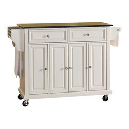 Crosley Furniture - Crosley Furniture Solid Black Granite Top Kitchen Cart in White Finish - Crosley Furniture - Kitchen Carts - KF30004EWH - Constructed of solid hardwood and wood veneers this mobile kitchen cart is designed for longevity. The beautiful raised panel doors and drawer fronts provide the ultimate in style to dress up your kitchen. Two deep drawers are great for anything from utensils to storage containers. Behind the four doors you will find adjustable shelves and an abundance of storage space for things that you prefer to be out of sight. The heavy duty casters provide the ultimate in mobility. When the cabinet is where you want it simply engage the locking casters to prevent movement. Style function and quality make this mobile kitchen cart a wise addition to your home.
