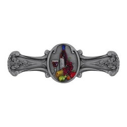 """Inviting Home - Best Cellar Pull (hand-tinted pewter) - Hand-cast Best Cellar Pull in hand-tinted pewter finish; 4""""W x 1-1/8""""H; Product Specification: Made in the USA. Fine-art foundry hand-pours and hand finished hardware knobs and pulls using Old World methods. Lifetime guaranteed against flaws in craftsmanship. Exceptional clarity of details and depth of relief. All knobs and pulls are hand cast from solid fine pewter or solid bronze. The term antique refers to special methods of treating metal so there is contrast between relief and recessed areas. Knobs and Pulls are lacquered to protect the finish. Alternate finishes are available."""