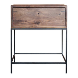 """kith&kin - Myers End Table - Modern Walnut Side Table, Walnut W/ Ebony Splines, 22x20 - Simple and stylish. Modern classic design made with natural materials. Mitered Black Walnut boxes with dovetailed maple drawers on under mount drawer guides. Shown with touch latch. Corner splined with Ebony (black). Precatilized lacquer finish. Mill-scale Steel Base shown with clear automotive finish. 22"""" wide x 20"""" deep x 24"""" high. Made to order. May or may not contain patches as shown in photo. No two are exactly alike. Lead time is typically 4 wks."""
