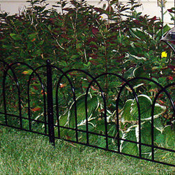 None - Basic Solar Fence - Create lovely soft light around your outdoor space with this basic solar fence. The solar fence is featured in a black powered coated steel and emits light bright guide you safely around your garden.
