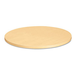 HON - HON Self-Edge Round Hospitality Table Top, 36 Diameter, Natural Maple - A most uncommon table designed for most common areas. Durable 1-1/8 thick High-pressure laminate resists dents and scratches and is extremely easy to clean. Withstands daily wear-and-tear for exceptionally long life. Matching self-edge for a clean, crisp look. Top and base sold and shipped separately-Order both.