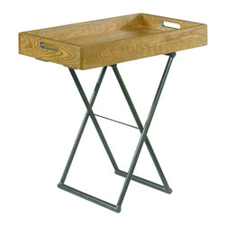 Hammary - Hammary 090-317 Hidden Treasures Adjustable Tray Table - When it comes to coffee in the morning, or tea with friends, you will be ready to go with this Adjustable Tray Table. A simple design of a metal cross base and a natural wood tray with handles, there is No space this table won't work in. The legs even adjust from one height to another to accommodate several different seating arrangements. An overall simple, contemporary yet rustic look gives it a friendly, casual quality perfect for any use.