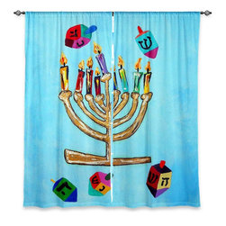 """DiaNoche Designs - Window Curtains Lined by Jackie Phillips Menorah II - Purchasing window curtains just got easier and better! Create a designer look to any of your living spaces with our decorative and unique """"Lined Window Curtains."""" Perfect for the living room, dining room or bedroom, these artistic curtains are an easy and inexpensive way to add color and style when decorating your home.  This is a woven poly material that filters outside light and creates a privacy barrier.  Each package includes two easy-to-hang, 3 inch diameter pole-pocket curtain panels.  The width listed is the total measurement of the two panels.  Curtain rod sold separately. Easy care, machine wash cold, tumble dry low, iron low if needed.  Printed in the USA."""