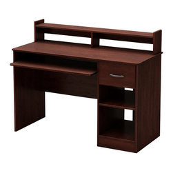 South Shore - South Shore Axess Work Desk in Royal Cherry - South Shore - Computer Desks - 7246076 - This Axess Desk in Royal Cherry finish is the perfect answer to organizing clutter in your child�s room. It features a compact design yet includes space for everything needed for schoolwork and projects. A low hutch offers shelving for books or keepsakes, and the desktop, plenty of room to spread out homework or a house laptop. Under it, you will find a keyboard tray, one practical drawer with a silver finish metal handles and a storage compartment divided by an adjustable shelf.