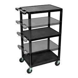 Luxor - Luxor Presentation Cart - LPDUO-B - Luxor's LPDUO presentation stations have shelves and legs made from high density polyethylene structural foam molded plastic