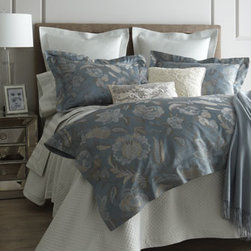 SFERRA - SFERRA King Striped Jacquard Flat Sheet - Painterly flowers flow across bed linens in peacock blue with a subtle sheen. Woven of Egyptian-cotton sateen jacquard. Floral duvet covers have button closure and ties in corners for securing comforter. Diamond pique linens in silver sage are made o...