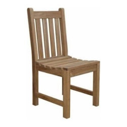Anderson Teak - Braxton Dining Chair - This Braxton dining chair is design for any purpose of seating chair. It is economical but yet, strong and comfortable enough for sitting gathering with your family or friends for hours. It is generously sized for added comfort and handsomely crafted in solid construction of plantation kiln dried teak, which makes this chair a wise choice for your seating needs. Add any table of your choice for a complete set. All tables are mix and match with Braxton dining chair. Cushion is optional.