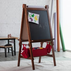Classic Playtime Deluxe Easel - Walnut - Add an engaging element to playtime with the Classic Playtime Deluxe Easel - Walnut. It's multi-use design features a magnetic chalkboard dry erase board and paper roll and allows for two kids to use it at the same time. The paper roll holder locks the roll in place and includes a tear guide. The holder is able to hold an 18-inch x 75-foot roll and functions smoothly. The matching accessory pouches and storage bin are perfect for keeping supplies organized. This easel is ideal for children aged 4 to 8 years old.