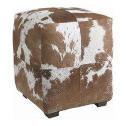 """Arteriors - Arteriors Home - Otto Patchwork Ottoman - 2697 - Square ottoman upholstered in a patchwork pattern of hand sewn brown and white hides with four wood feet. Features: Otto Collection Ottoman Brown & White HideBrown and white Some Assembly Required. Dimensions: H 18 1/2"""" x 16"""" Sq"""