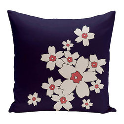 e by design - Floral Spring Navy 18-Inch Cotton Decorative Pillow - - Decorate and personalize your home with coastal cotton pillows that embody color and style from e by design  - Fill Material: Synthetic down  - Closure: Concealed Zipper  - Care Instructions: Spot clean recommended  - Made in USA e by design - CPO-NR6-Spring_Navy-18