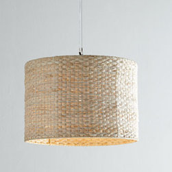 """Horchow - Woven Straw Pendant Light - Bring organic texture to lighting with this nature-inspired woven pendant light. Made of raffia woven over a metal frame; plastic diffuser. Uses one 60-watt bulb. 16""""Dia. x 12.5""""T. Imported."""