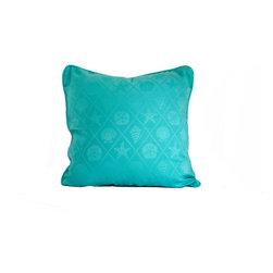 "Seashell trellis blue throw pillow decorative cushion cover 20"" - A blue seashell trellis pillow cover. This 20"" x 20"" decorative cushion cover is made from decorator fabric."