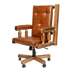 "Montana Woodworks - 27"" Upholstered Office Chair - The perfect chair to accompany the perfect desk! Handcrafted. Rustic timber frame design. Heirloom quality. Swivel. An adjustable base for comfort and ease of use. Padded seat, back and arms. Roller casters. Made from solid U.S. grown wood. Stained and lacquered finish."