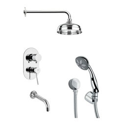 Remer - Modern Polished Chrome Shower System - Single function tub and shower faucet.